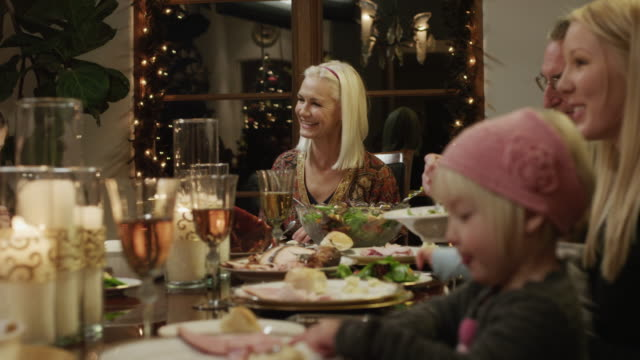 ms ds pan family with children (2-5 months,2-9 years) having christmas dinner / cedar hills,utah,usa - 8 9 years stock videos & royalty-free footage
