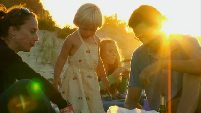 cu, family with daughter (2-3) having picnic on beach, north truro, massachusetts, usa - picnic stock videos & royalty-free footage