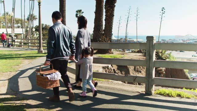 family with picnic basket walking atop the bluffs in santa monica - picnic basket stock videos & royalty-free footage
