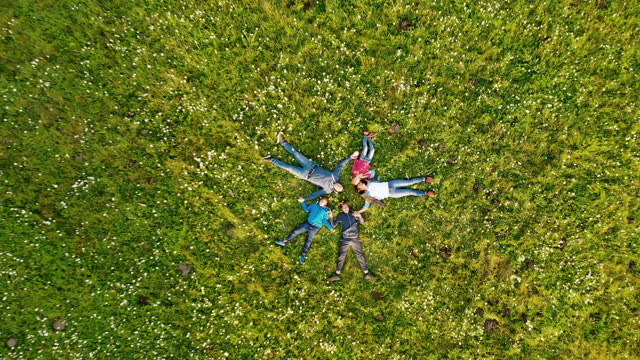 aerial family with three children lying in a circle in the grass - lying down stock videos & royalty-free footage