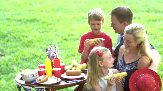 family with two children at july 4th picnic, eating corn - 8 9 years stock videos & royalty-free footage