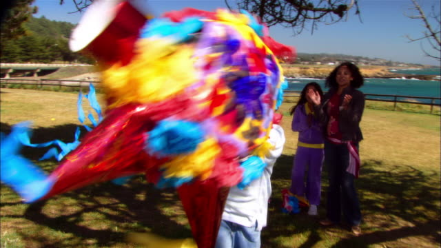 ms, cu, family with two children (8-9, 10-11) in park, boy hitting pinata leffingwell park, cambria, california, usa - attività del fine settimana video stock e b–roll