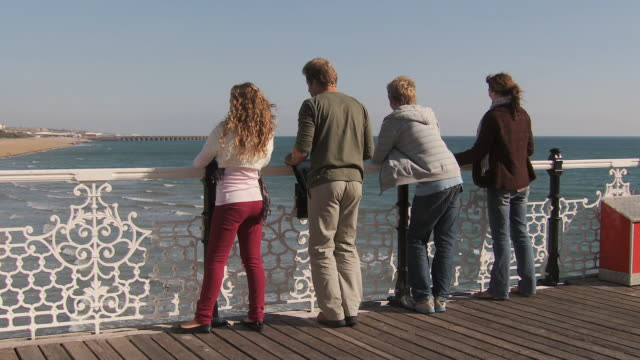 ms, family with two children (10-11, 12-13) leaning on brighton pier railing, rear view, brighton, sussex, united kingdom - people in a line stock videos & royalty-free footage