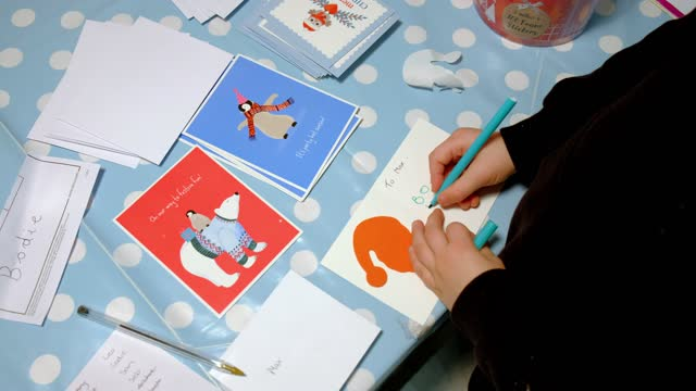 family write christmas cards on december 01, 2020 in essex, england. - suit stock videos & royalty-free footage