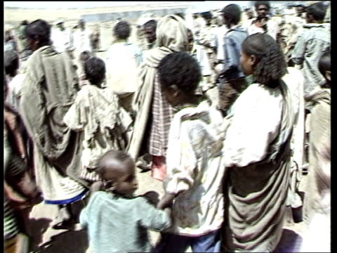 ETHIOPIA / Famine relief / World Bank aid programme announced INJ1978 / 11184 / ITN Mak'ale Regugee Camp BV Refugees walking in camp