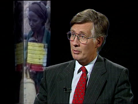 Famine/unrest ENGLAND London ITN CMS Michael Meacher intvwd SOF Aid still far short of what is required / Food is looted before it gets to those who...