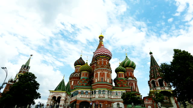 famous ancient church in russia-saint basil's cathedral - 16th century style stock videos and b-roll footage