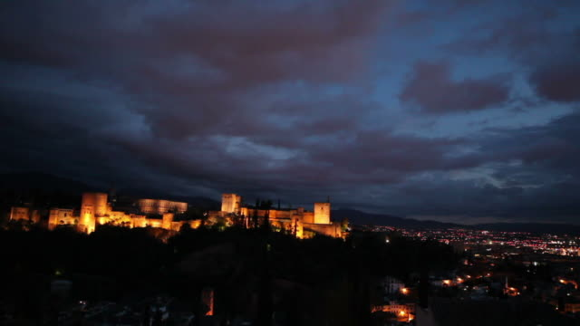 Famous castle in Granada during the night