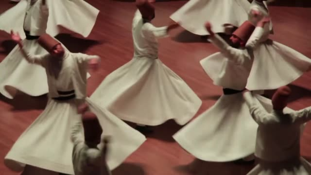 famous classical/sufi music singer ahmet ozhan and whirling dervishes perform during a sebi arus ceremony at mevlana cultural center to mark the... - sufism stock videos & royalty-free footage