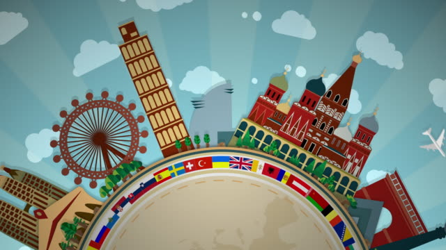 famous european landmarks, including all flags - semi-circle loop: #1 - map stock videos & royalty-free footage