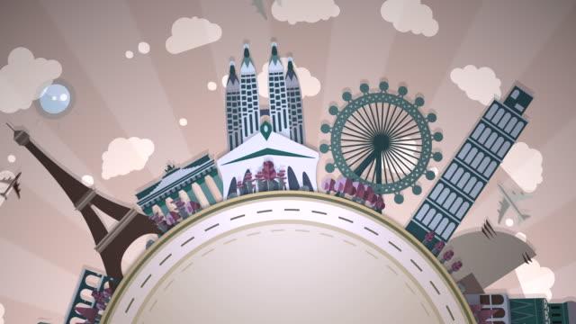 berühmte europäische sehenswürdigkeiten - halbkreis schleife: #2 - zeichnung stock-videos und b-roll-filmmaterial