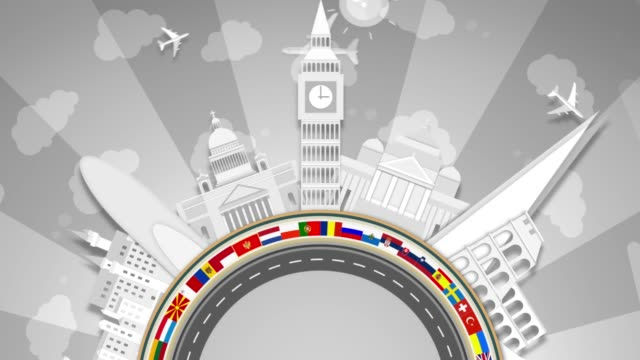 famous european landmarks, white paper cut-outs. semi-circle looping. - all european flags stock videos and b-roll footage