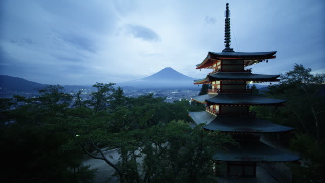 famous fuji sengen jinja shrine, panning shot - mt fuji stock videos & royalty-free footage