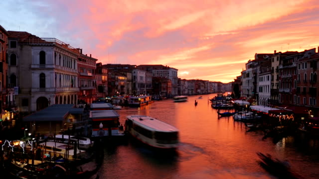 famous grand canal from rialto bridge at sunset, venice, italy - grand canal venice stock videos & royalty-free footage