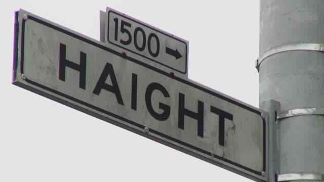 cu famous haight sign / san francisco, california, usa - haight ashbury stock videos & royalty-free footage