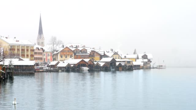 famous hallstatt, austria, in winter - traditionally austrian stock videos & royalty-free footage
