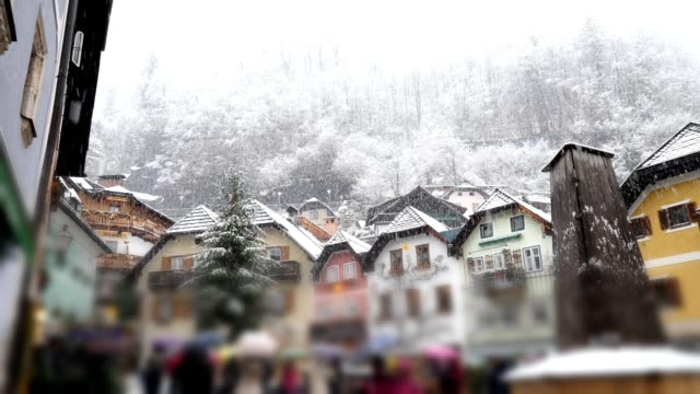 famous hallstatt, austria, in winter - austria stock videos & royalty-free footage