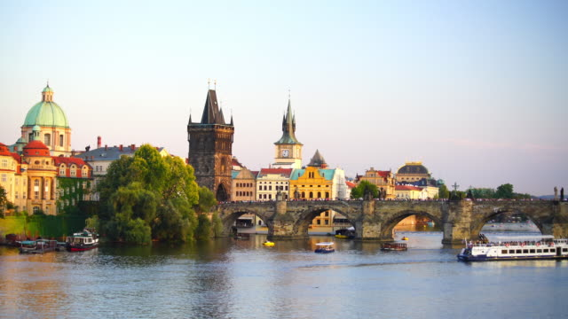 famous iconic image of charles bridge and prague city skyline - czech republic stock videos & royalty-free footage