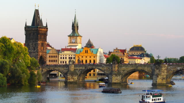famous iconic image of charles bridge and prague city skyline - charles bridge stock videos & royalty-free footage