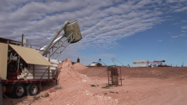 ms famous mining equipment used for opal mining in coober pedy, known as blower, coober pedy, south australia, australia - mining stock videos & royalty-free footage