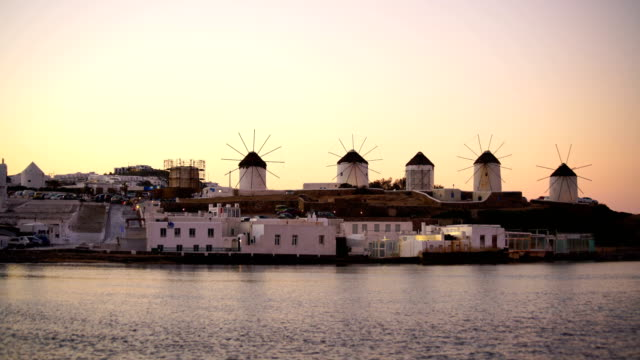 famous mykonos town windmills, mykonos island, cyclades, greece - mykonos stock videos & royalty-free footage