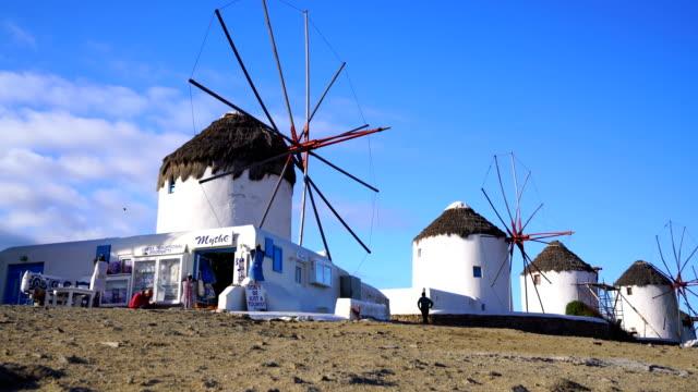 famous mykonos town windmills, mykonos island, cyclades, greece - mykonos stock videos & royalty-free footage