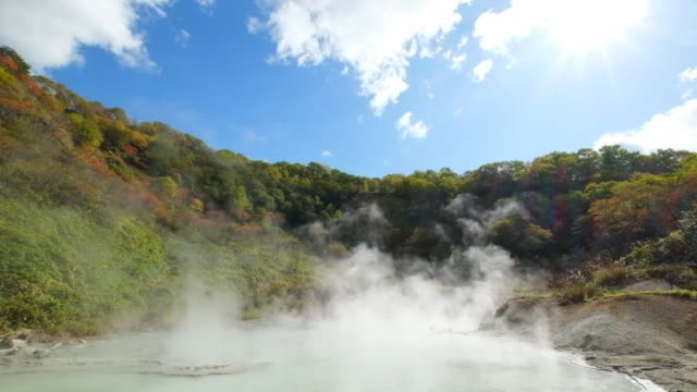 famous noboribetsu hot springs, hokkaido, japan - hot spring stock videos & royalty-free footage