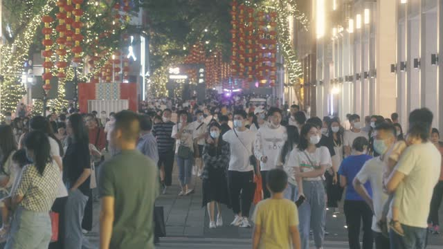 famous pedestrian street of beijing road,guangzhou,china. - crowd stock videos & royalty-free footage