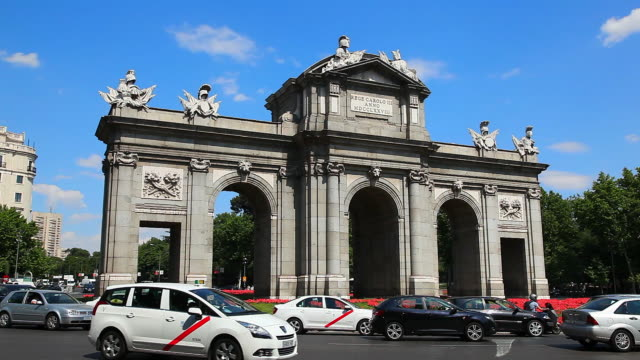 famous puerta de alcala landmark in madrid, spain - courtyard stock videos & royalty-free footage