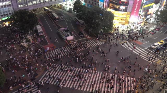 famous shibuya  crossing - crossroad stock videos & royalty-free footage
