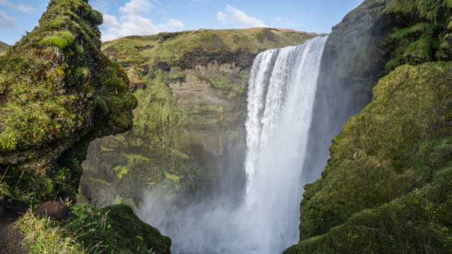 Famous Skogafoss Waterfall in southern Iceland