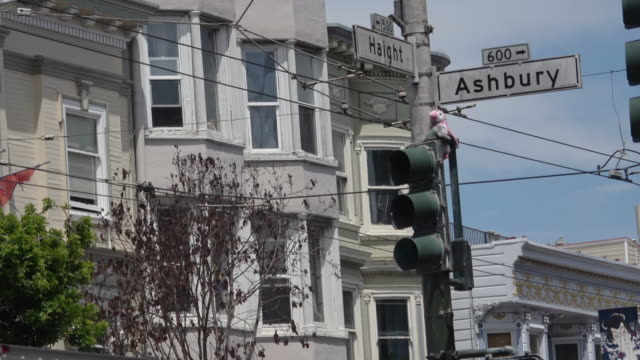 famous street sign at haight and ashbury in san francisco - haight ashbury stock videos & royalty-free footage