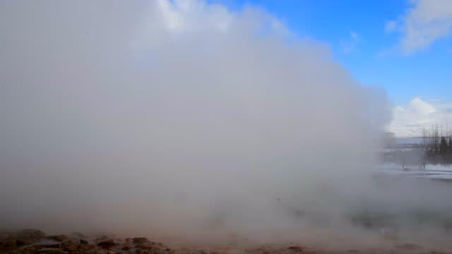 Famous Strokkur fountain geyser