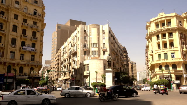 famous talaat harb square in downtown cairo, egypt - famous place stock videos & royalty-free footage