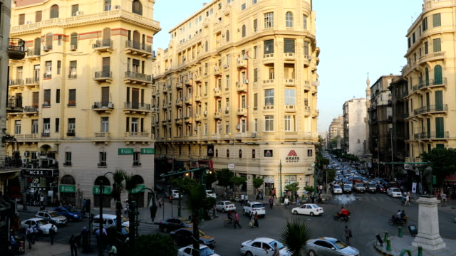 famous talaat harb square in downtown cairo, egypt - cairo stock videos & royalty-free footage