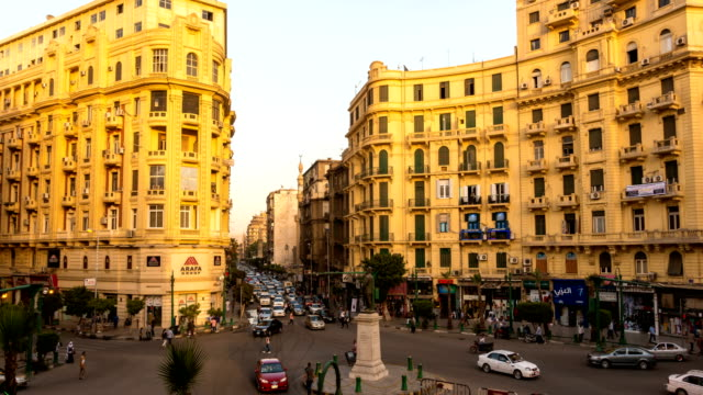famous talaat harb square in downtown cairo, egypt - egypt stock videos & royalty-free footage