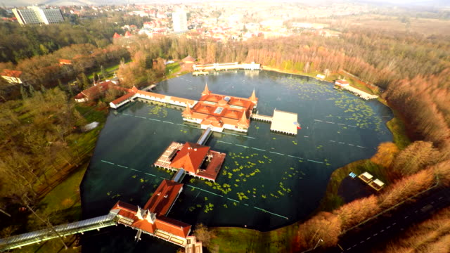AERIAL Famous thermal lake Heviz in Hungary