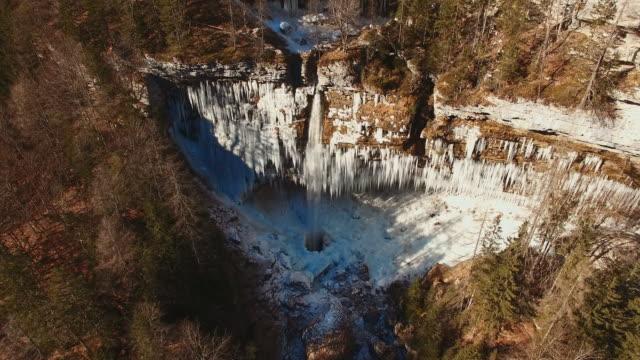 AERIAL Famous waterfall in Julian Alps