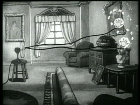 b/w 1937 animation fan blowing dustclothes on rope dusting furniture + picture in room - picture frame stock videos & royalty-free footage