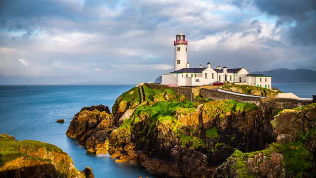 fanad head lighthouse. co. donegal, ireland - time lapse - ulster county stock videos & royalty-free footage