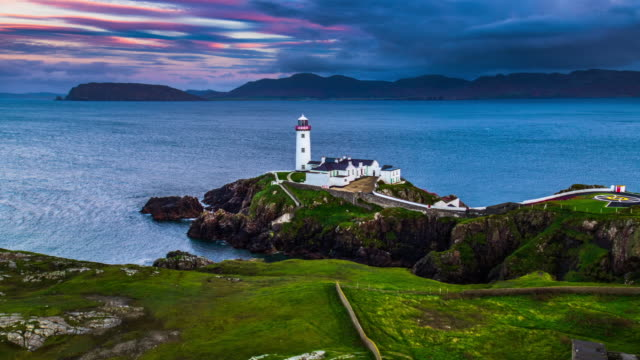 aerial: fanad head lighthouse. co. donegal, ireland - lighthouse stock videos & royalty-free footage