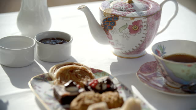 fancy tea and desserts - 19th century style stock videos and b-roll footage