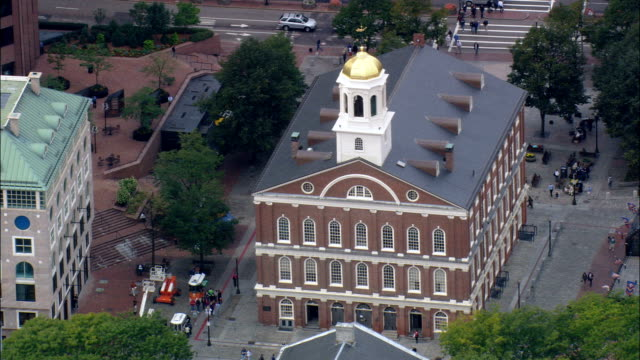 faneuil hall marketplace  - aerial view - massachusetts,  suffolk county,  united states - federal building stock videos & royalty-free footage