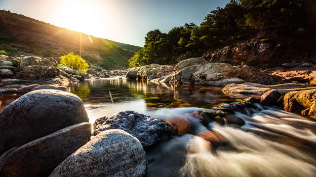 fango mountain river in corsica,  france - time lapse - france stock videos & royalty-free footage