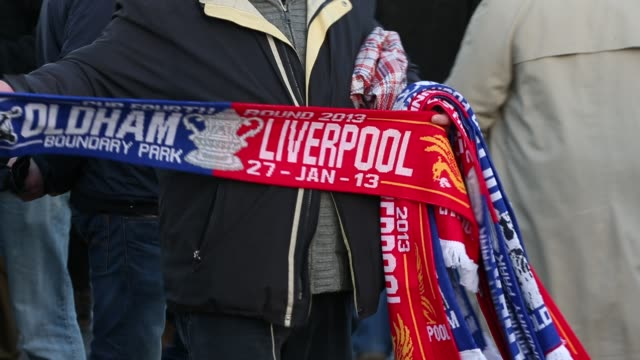 stockvideo's en b-roll-footage met fanns arrive at oldham athletic ground boundary park in oldham for their fa cup clash against liverpool january 27 2013 general views of oldham... - fa cup