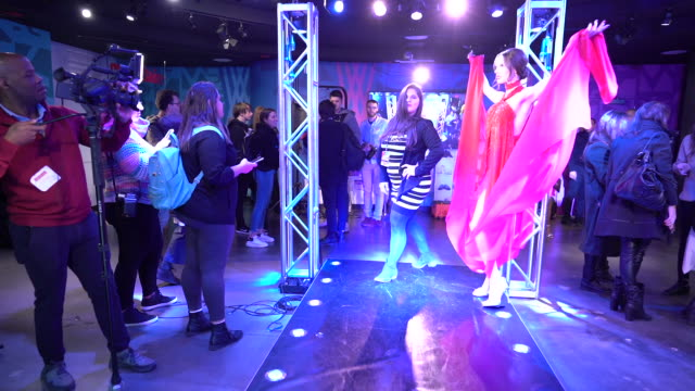 fans and guests with wax figure at madame tussauds new york fashion experience with alessandra ambrosio at madame tussauds times square on december... - madame tussauds stock videos & royalty-free footage