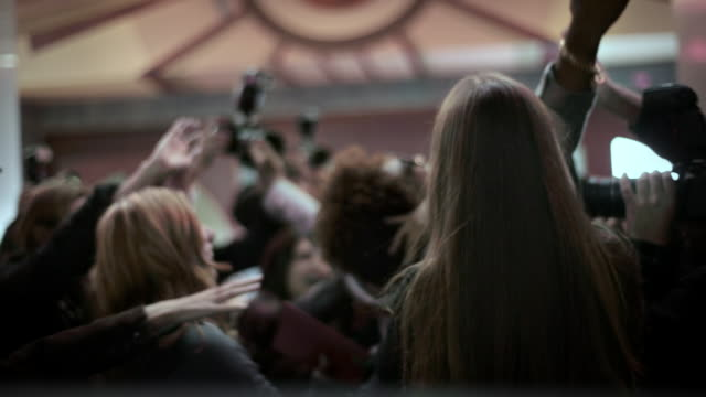 Fans and paparazzi surround excited pop star on awards show red carpet at awards show