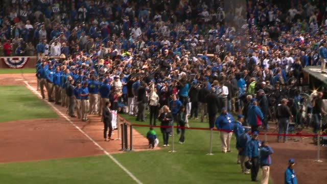 fans and players celebrate in wrigley field after cubs beat cardinals in division playoffs in chicago on october 13, 2015. - playoffs stock videos & royalty-free footage