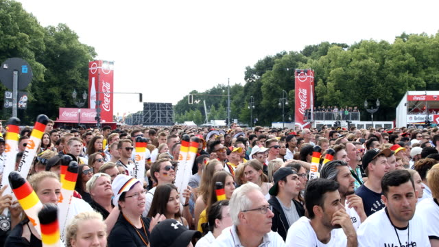 Fans are singing hopeful 'Deutschland' 'Deutschland' and waving with plastic sticks while Germany is loosing the 2018 FIFA World Cup Russia Group F...