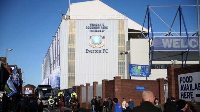 Fans arrive at Everton's home ground Goodison Park Liverpool England on Saturday February 2 2013 General Views Of Everton Ground Goodison Park on...